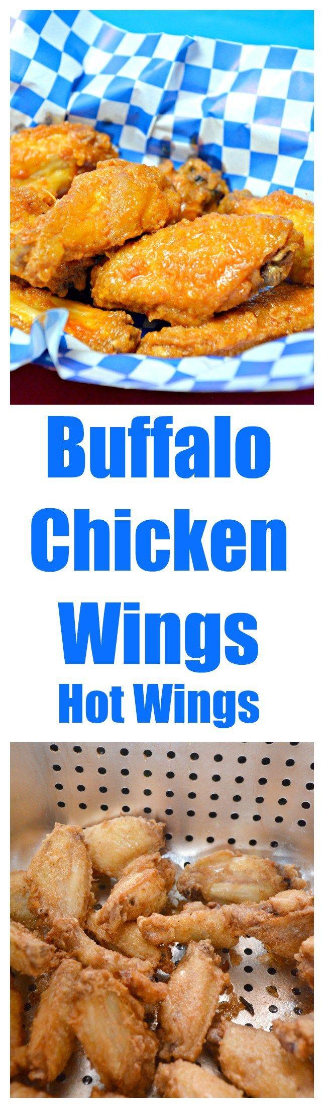 Crispy Fried Buffalo Chicken Wings with Garlic Hot Sauce #wings #hot wings #buffalo wings #Superbowl #appetizer #chicken #football food