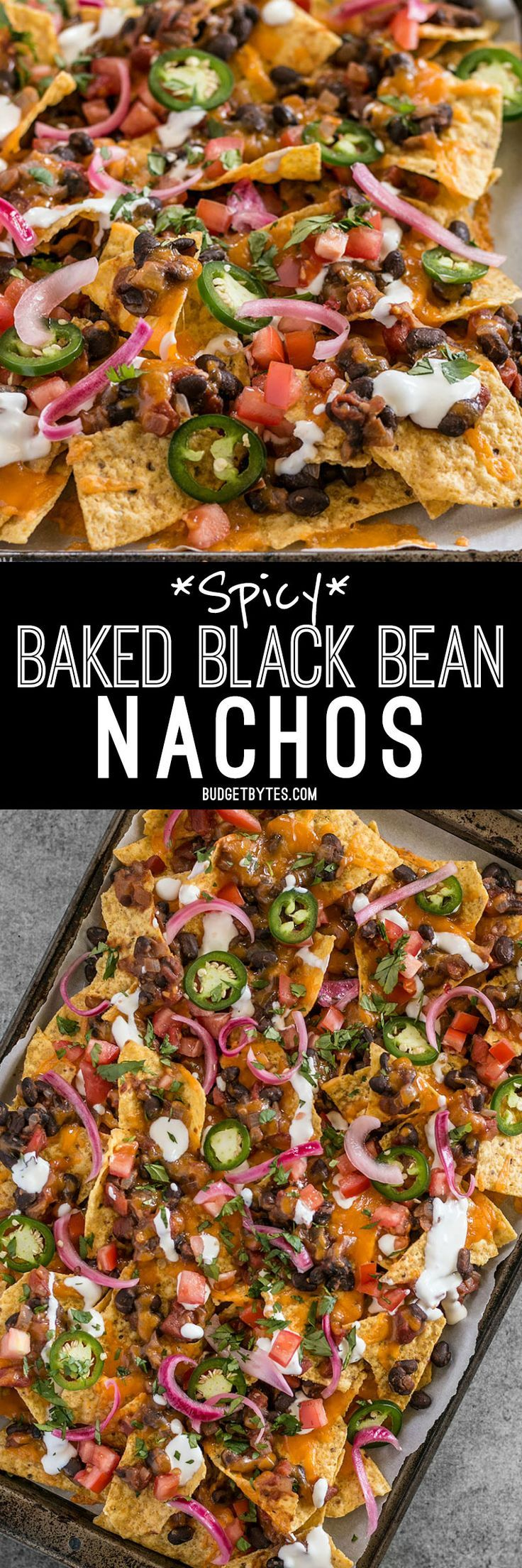 For the perfect Spicy Baked Black Bean Nachos, layer your chips and toppings for the perfect chip-to-topping ratio.