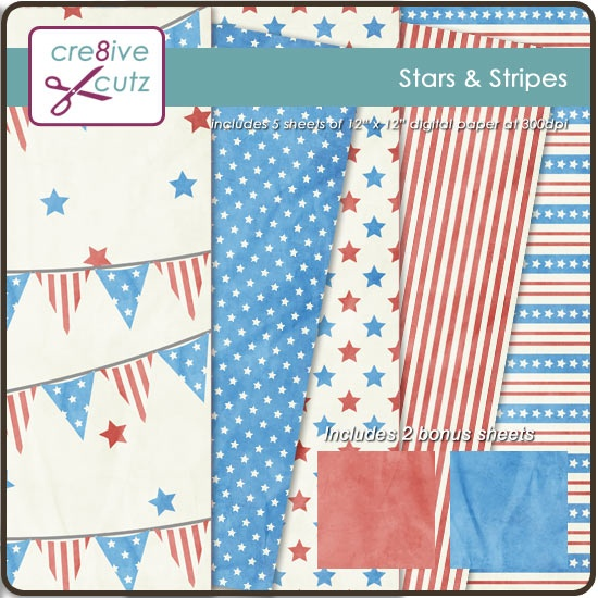 Stars & Stripes Digital Scrapbooking Paper - 5 patterned sheets + 2 bonus sheets