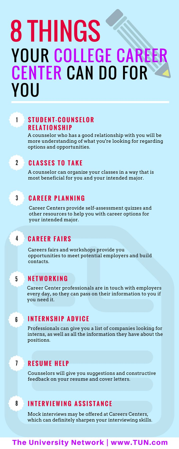 Most college students have had second thoughts about their chosen career path, or at some point been completely clueless about what they want to pursue as a career. Your college's Career Center is the perfect place for you to get clarity about your future, help on internships/jobs, and advice on resumes or preparation for interviews.