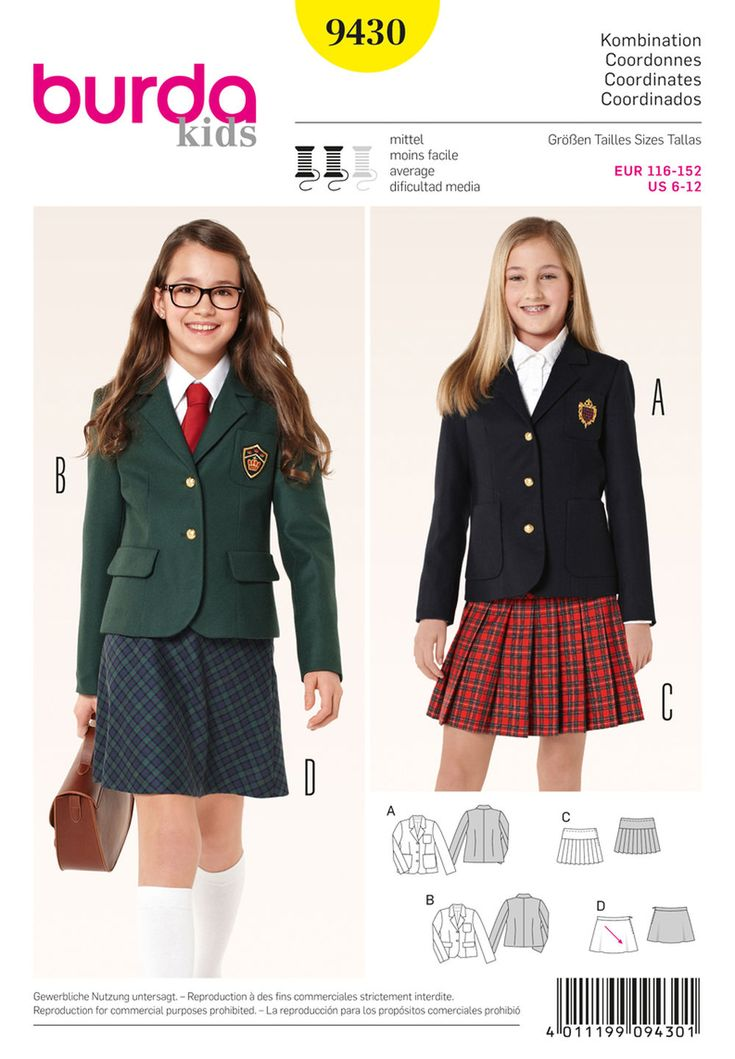 college-style look, even if a school uniform is not mandatory. smart and dressy blazer variants, combined with a pleated or a flared skirt