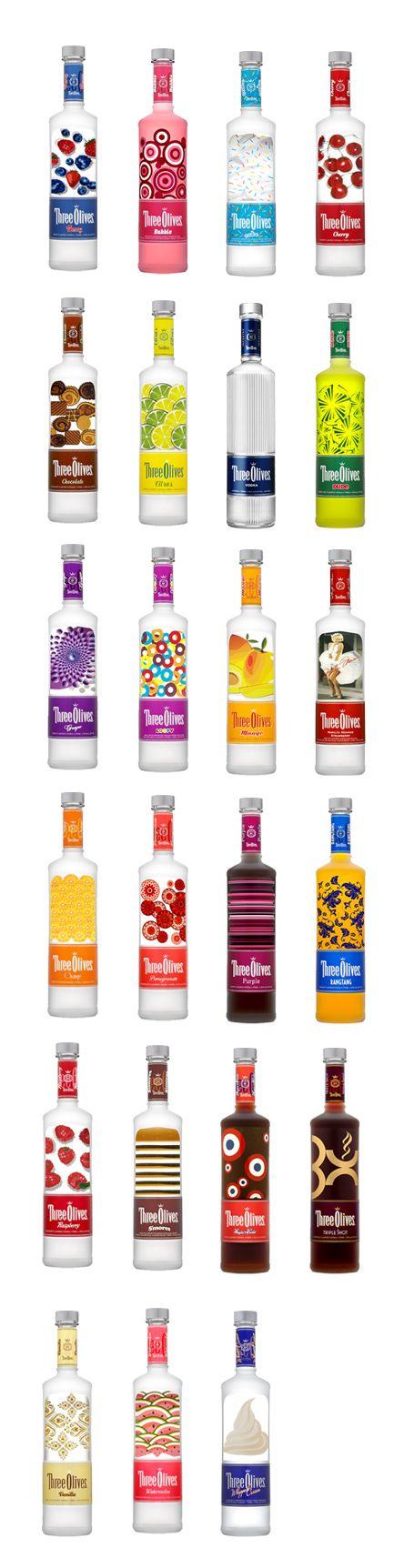 All of the Three Olive Vodka Bottle designs. I had no idea they had so many fun flavors.