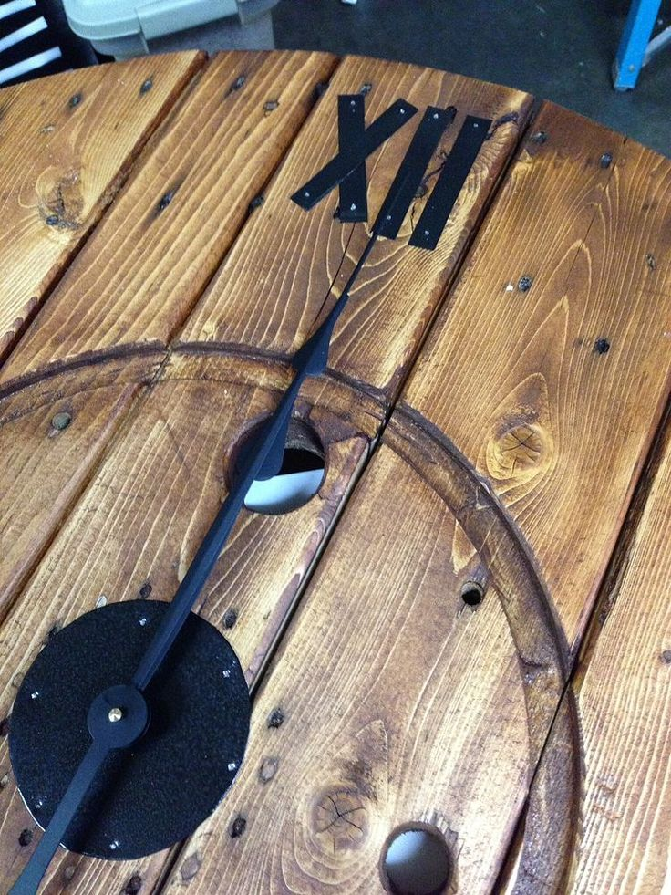 Diy Large Cable Spool Wall Clock Huge Wall Clock And