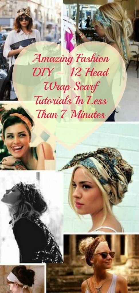 12 Head Wrap Scarf Tutorials In Less Than 7 Minutes | I luv wrapping a beautiful scarf around my head on those days when I dont feel like having my hair out. LoL A wrap can make your look totally unique.