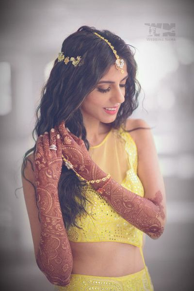 Mehendi hairstyle - soft waves   WedMeGood #wedmegood #mehendi #hairstyles