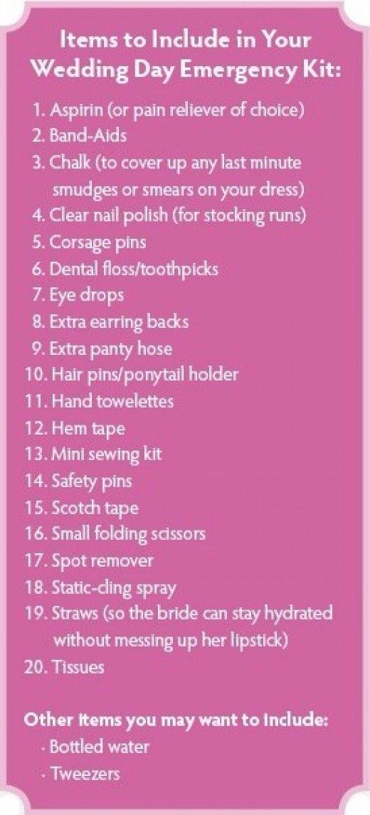 Wedding Day Emergency Kit | Wedding Ideas & Useful ...