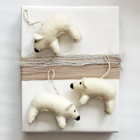Ignore the bears - what about that canvas in the background? DIY. Felt Polar Bear Ornament (west elm)