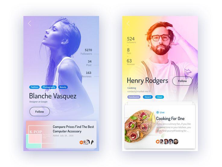 Social profiles app full screen