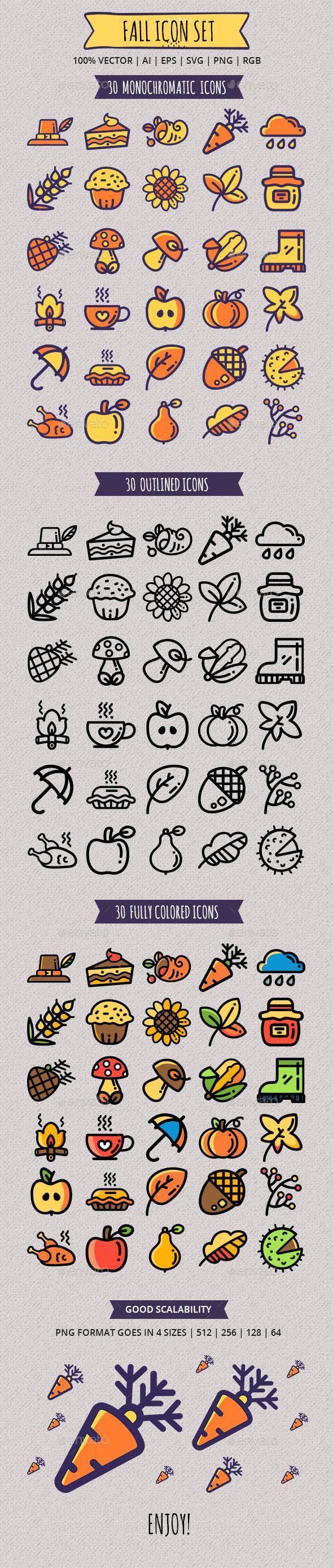 Seasonal Fall Icon Set — Vector EPS #cupcake #turkey • Available here ➝ https://graphicriver.net/item/seasonal-fall-icon-set/20906648?ref=pxcr