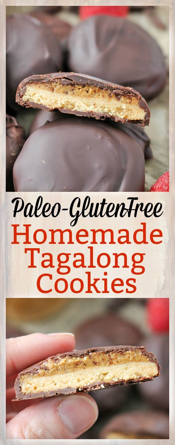 These Paleo Homemade Tagalong Cookies are easy to make and so delicious! A crunchy shortbread cookie, topped with creamy cashew butter and then sipped in chocolate. A healthy version of the Girl Scout cookie that is gluten free, dairy free, and vegan. Recreating popular cookies are so fun! I have