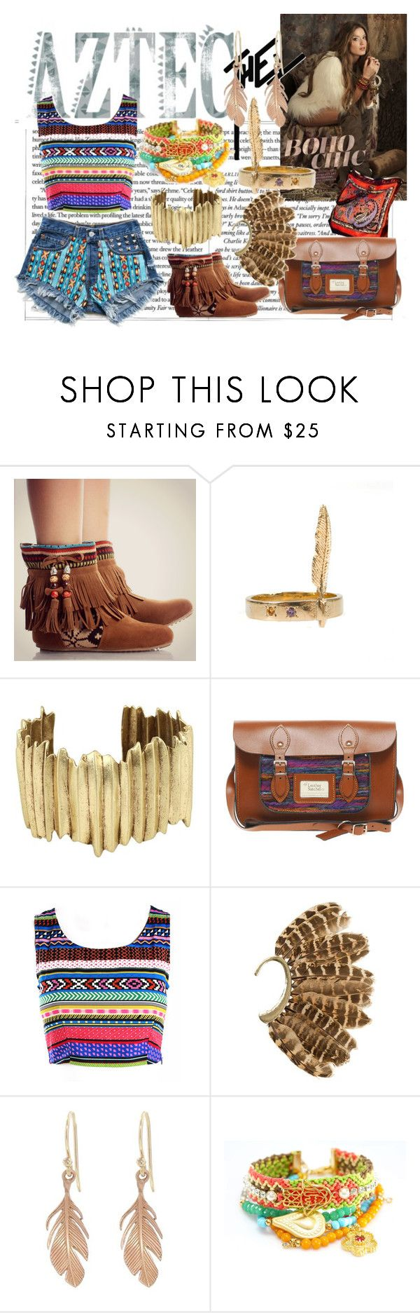 """""""Boho - Aztec"""" by ruby-lord ❤ liked on Polyvore featuring Behance, D_Luxe, Lucky Brand, The Leather Satchel Co., Bohemian Society, Annette Ferdinandsen, feather earrings, aztec-inspired print, aztec shorts and leather bag"""