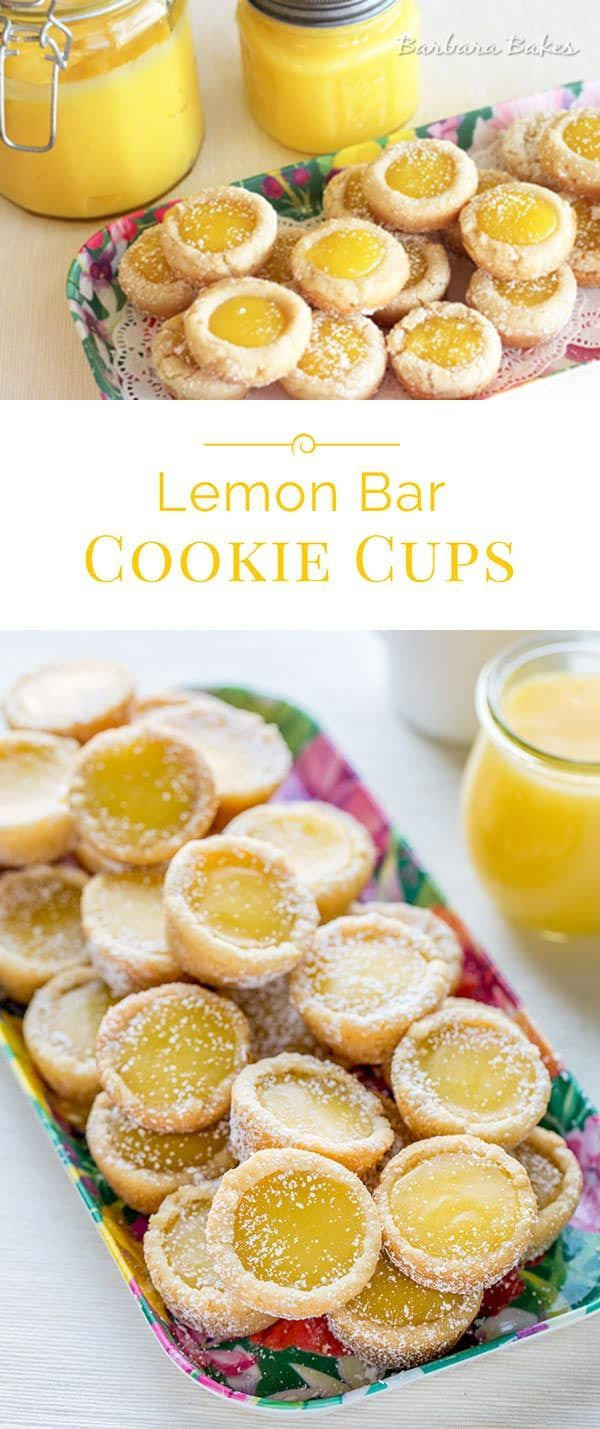 These Lemon Bar Cookie Cups are easy to make, and easier to serve than lemon bars. If you're a lemon bar lover, you'll love this cookie cup version. #cookiebarrecipescups