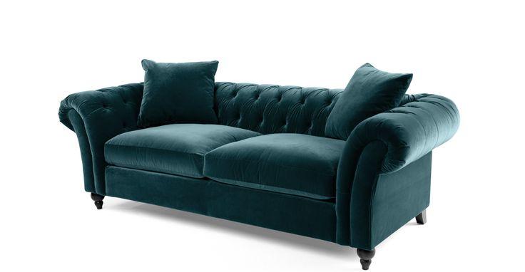 Bardot 3 Seater Chesterfield Sofa, Ocean Blue Velvet