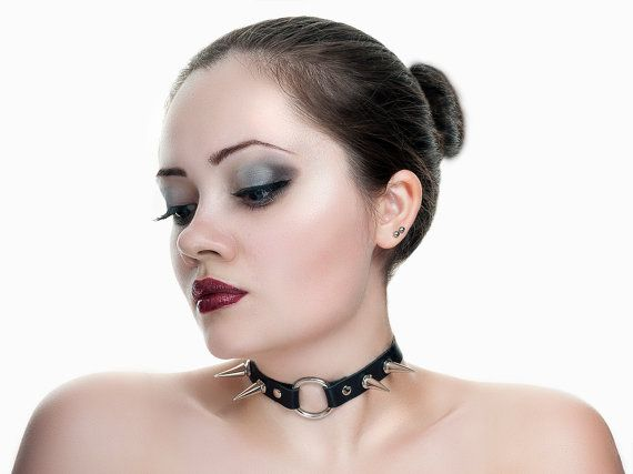 Black leather O ring collar with spikes by NaturalBornSinners