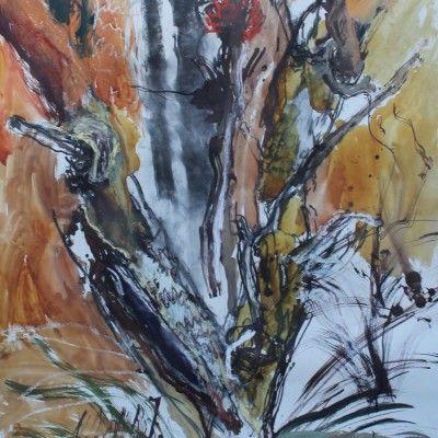 Denis Clarke, Scar Tree, Mixed Media on paper, 111x78cm  www.stanleystreetgallery.com.au