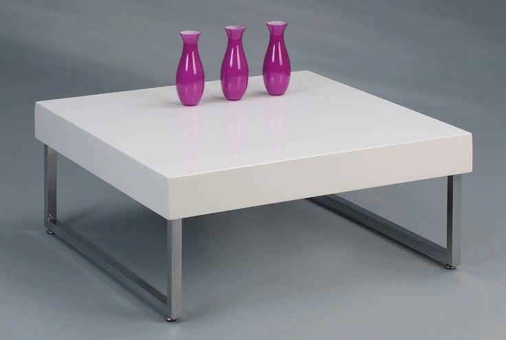 vierkante tafelblad is uitgevoerd in hout en afgewerkt Hoogglans wit ...