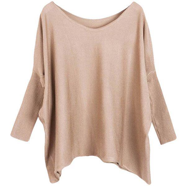 Womens Plain Loose Slash Neck Batwing Sleeve Sweater Khaki (365 UYU) ❤  liked on