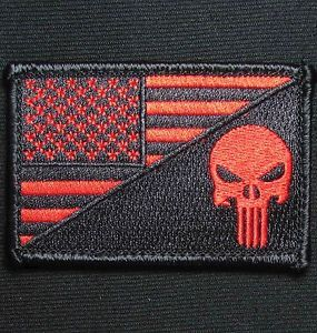 Punisher Skull USA American Flag Army Morale Tactical Black Ops Red Velcro Patch | eBay