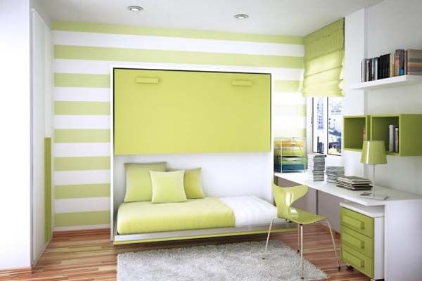 Modern Bedroom Designs For Small Spaces modern bedroom small rooms green white stripes themes