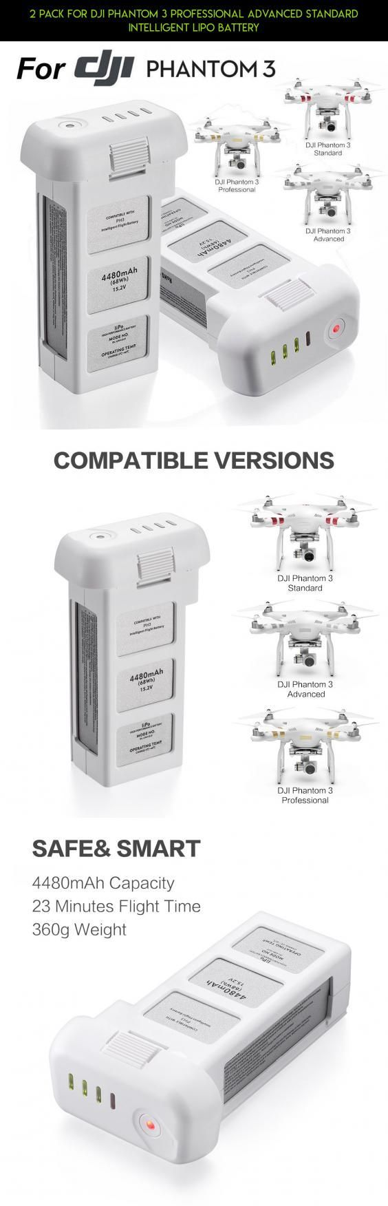 2 Pack For DJI Phantom 3 Professional Advanced Standard Intelligent LiPo Battery #tech #battery #gadgets #standard #camera #2 #drone #plans #dji #products #technology #fpv #3 #kit #shopping #racing #parts #phantom