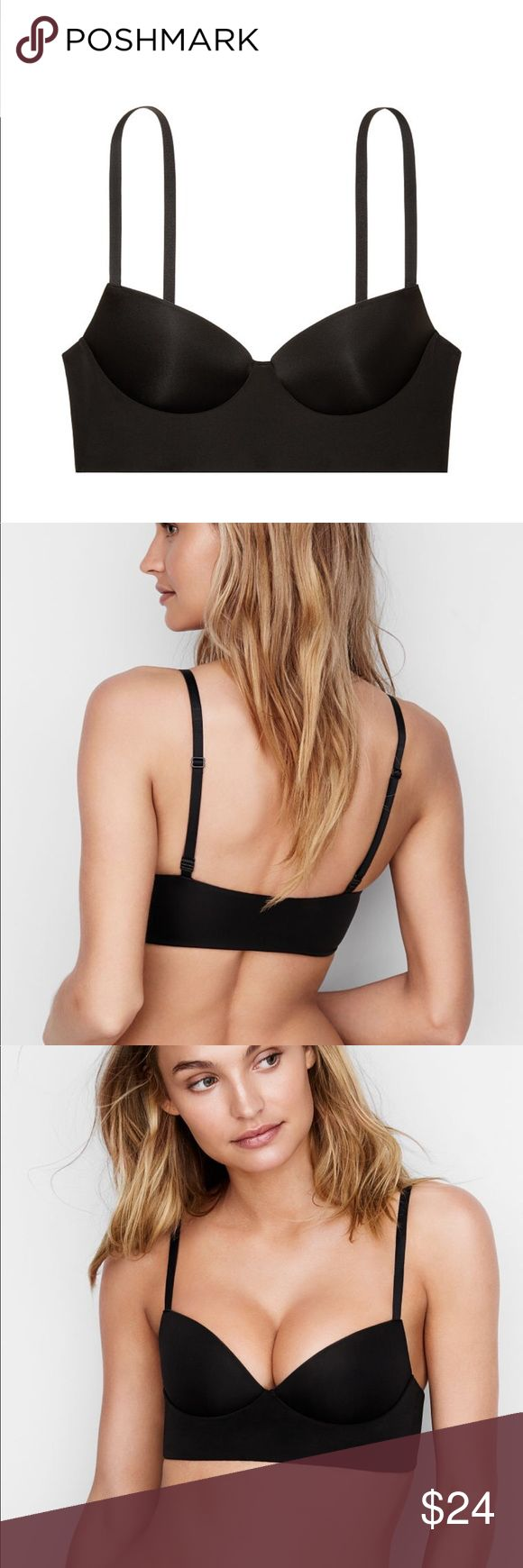 NWT Victoria's Secret Push-up Bralette NWT Victoria's Secret Push-up Bralette Size: XL (38D, 40B, 40C, 40D) Color:Black         Soft, smooth and simply sexy, this push-up adds lift without the wires  Lift & Lining: Push-up padding Wireless cups  Straps & Hooks: Adjustable straps Pullover style  Details & Fabric: nylon/spandex/polyester         Imported         Condition: New with Tags Victoria's Secret Intimates & Sleepwear Bras