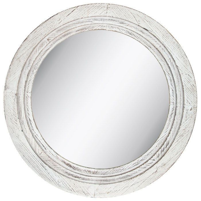 Distressed Round Mirror Large White Wood Wall Mount Bathroom Vanity Decor Accent Wood Wall Mirror Mirror Wall Round White Mirror