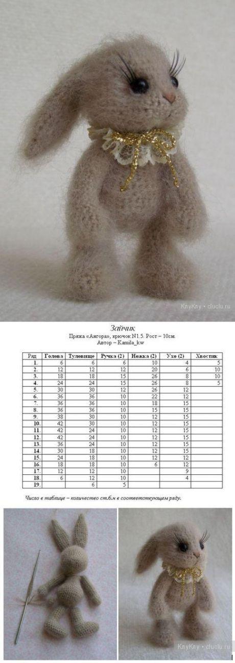Вязание крючком игрушки амигуруми. Схема вязания зайчика / Вязание игрушек на спицах и крючком, схемы и описание / КлуКлу. Рукоделие - бисероплетение, квиллинг, вышивка крестом, вязание