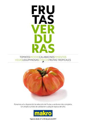 Frutas y verdudas en Makro del 1 al 30 de Junio -  Catálogo Makro del1 al 30 de Junio Tomates, patatas, calabacines, pimientos, hojas, leguminosas, cítricos, frutas tropicales. Makro pone a tu disposición la mejor selección de verduras y frutas. La mejor calidad durante todo el año a unos precios inmejorables. Ver Folleto Makro Verano    #CatálogosMakro, #Catálogosonline   Ver en la web : https://ofertassupermercados.es/frutas-verdudas-makro-del-1-al-30-junio/