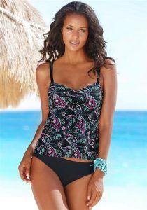 Bademode günstig kaufen   LASCANA Damen Bügel-Tankini türkis / pink / schwarz   04893865420368