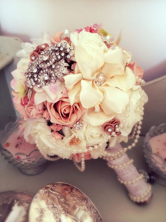 Vintage peach / coral brides pearl,lace,brooch wedding bouquet of artificial silk,foam,fabric flowers everlasting keepsake of a special day! on Etsy, £150.00