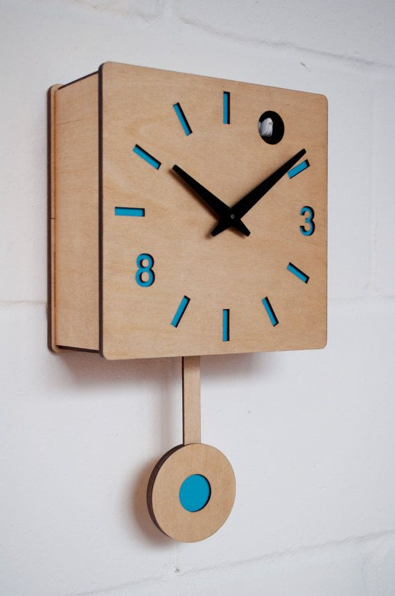 Very exclusive cuckoo clock designed and made by myself in Hackney Wick, London.  Battery powered quartz mechanism with moving pendulum and bird