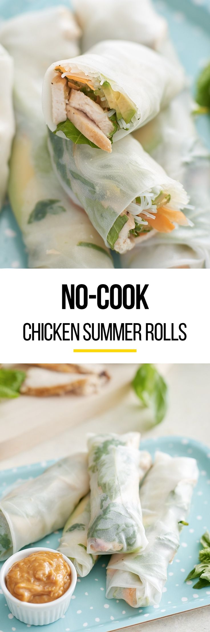 No-Cook Chicken Summer Rolls Recipe. Looking for fresh and easy recipes and ideas for weeknight meals? These healthy Vietnamese rolls are full of chicken (use leftover or shredded rotisserie chicken), veggies, herbs, avocado, and rice noodles. Easy to make vegetarian and served with a luscious peanut sauce .