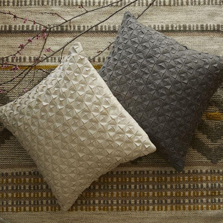 Origami Felt Diamond Cushion Cover - Slate