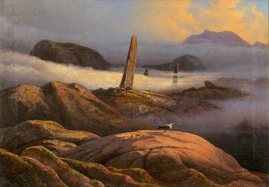 Knud Baade (1808-1879): Kystlandskap med bautasteiner og måke, 1844