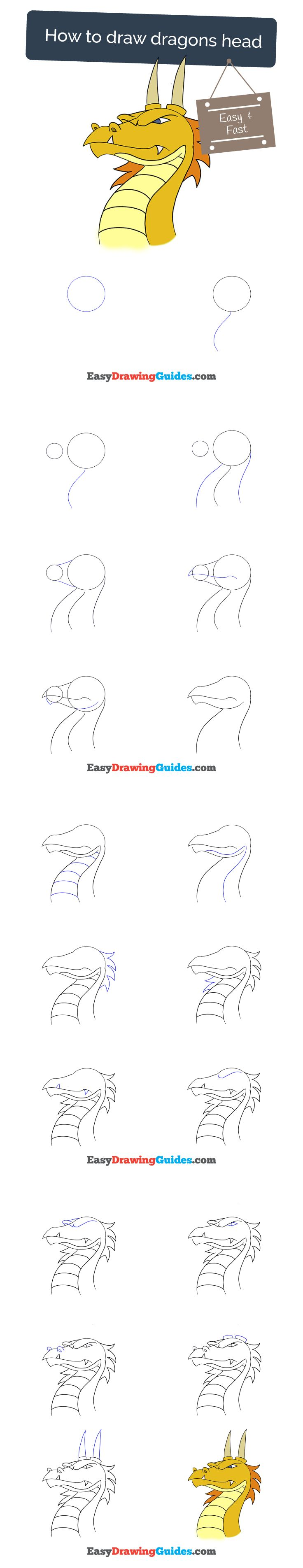 Learn How To Draw A Dragon's Head: Easy Stepbystep Drawing Tutorial