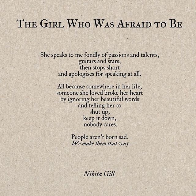 The girl who was afraid to be