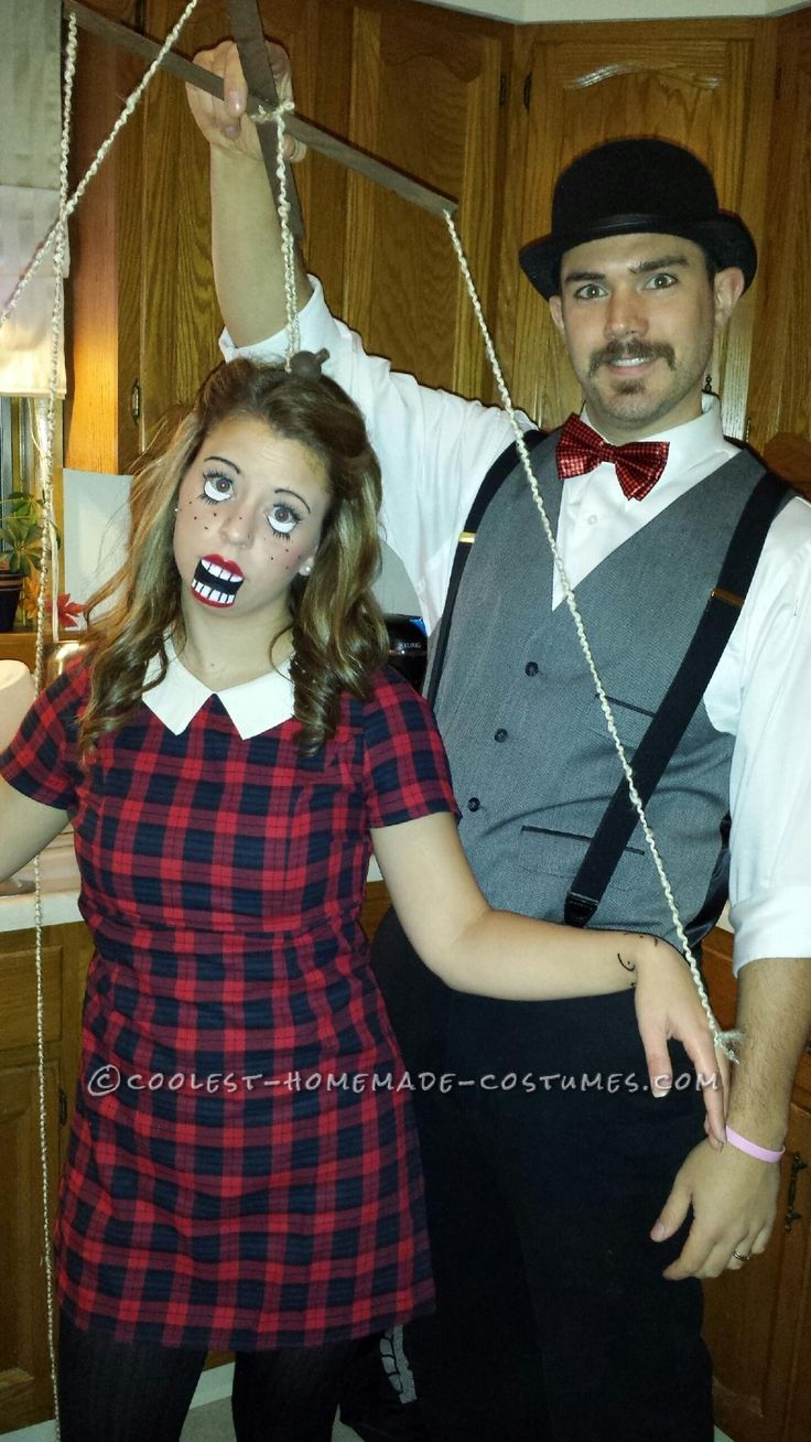 diy couples halloween costume as puppet and puppeteer