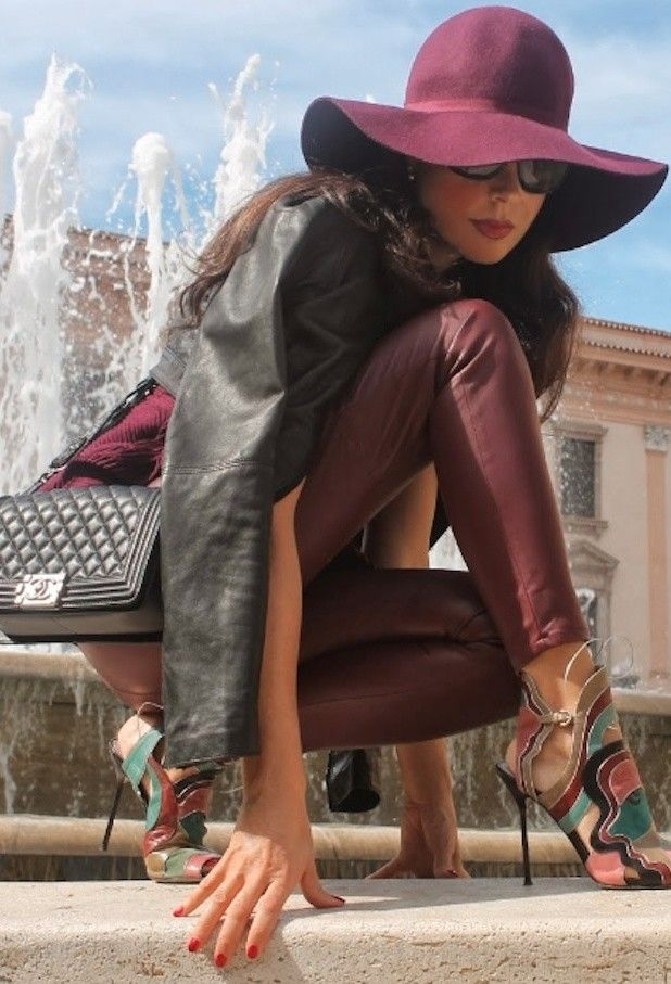 Burgundy hat for fall fashion. See more fashion looks on wear2where.com