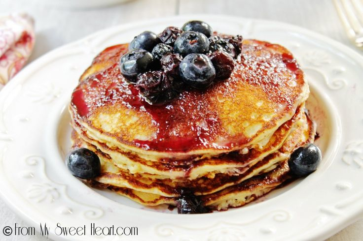 Lemon Ricotta Pancakes with Blueberry Maple Syrup   From My Sweet Heart