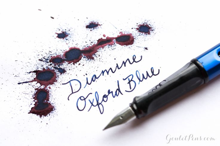 Diamine Oxford Blue ink splatter with a Lamy fountain pen.
