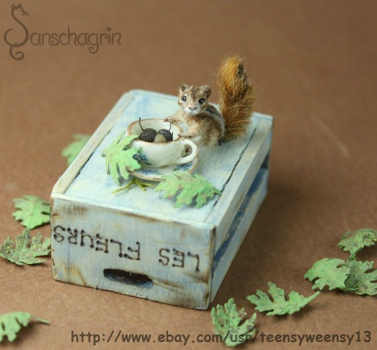 OOAK Dollhouse Miniature Pet Chipmunk Head Turns Handmade Animal Flocked 1 12 | eBay