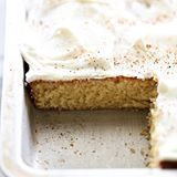 This Eggnog Sheet Cake is perfect for the holiday season! Even if you don't care for eggnog, you will LOVE this cake! It is so moist and the flavor is a fabulous addition. This cake is melt-in-your-mouth DELICIOUS! (Direct link in profile) #chefintraining #chefintrainingblog #huffposttaste #eggnog #cake #dessert