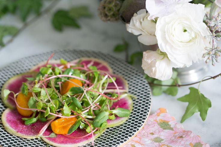 Tea Party Salad, Candied Kumquats, Microgreens and Watermelon Radish | SALAD for President