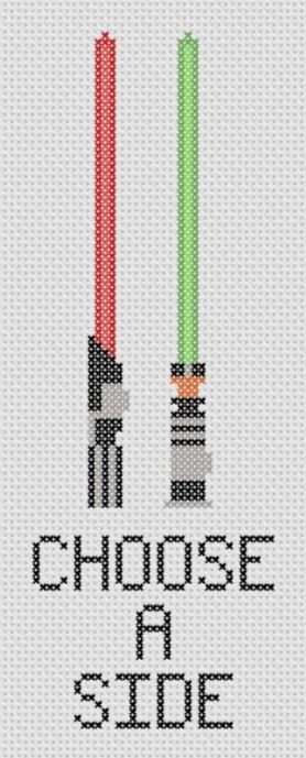 Star Wars - Choose a Side Cross Stitch PDF Pattern - Geek , Lightsabers Darth Vader and Luke. $2,00, via Etsy.