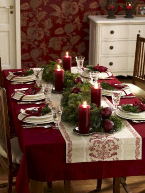 Beautiful christmas decoration ideas in red domination 28