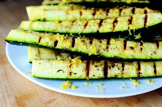 Grilled Zucchini 6 whole Zucchini (medium Sized) 1/4 cup Olive Oil 1 teaspoon Kosher Salt 1 teaspoon Black Pepper 3 whole Lemons, Zested 1 teaspoon Kosher Salt (additional) Extra Olive Oil If Needed For Brushing