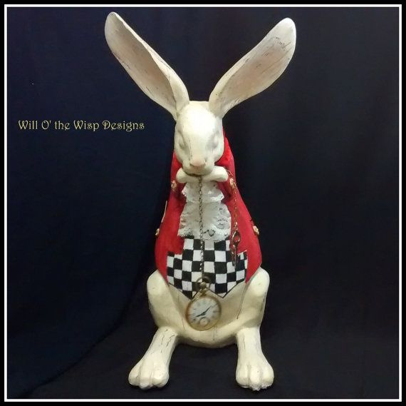 White rabbit figurine quot tall alice in wonderland