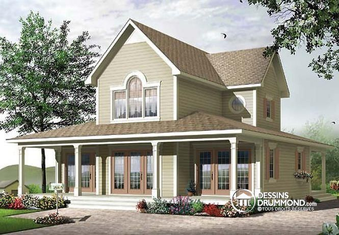 PEUT-ON PARLER DE « CHALET » ? Maison de style chalet 4 saisons, 3 à 4 chambres, deux foyers, veranda & terrasse couverte http://www.dessinsdrummond.com/detail-plan-de-maison/info/quesnay-champetre-1002326.html