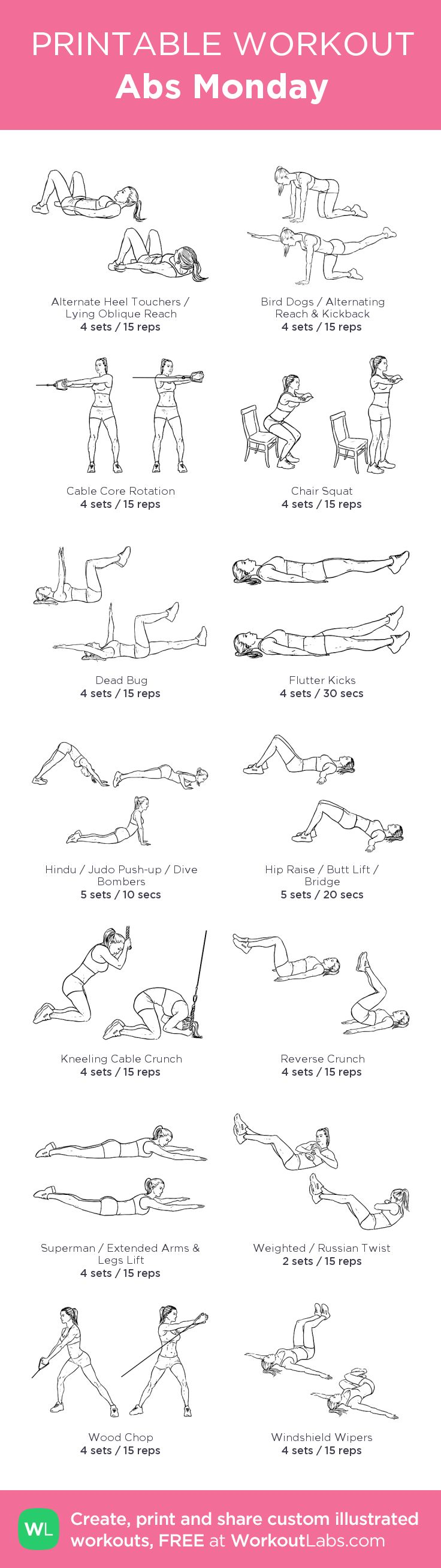 Abs Monday: my visual workout created at WorkoutLabs.com •