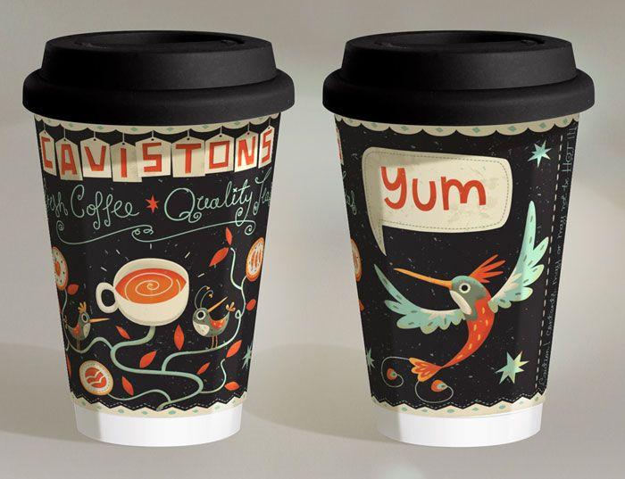 ダブリンの珈琲屋さんの紙カップ。フリーダムな感じのイラストがかわいいw(via Cavistons)